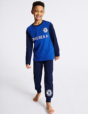 Pure Cotton Chelsea FC™ Pyjamas (3-16 Years), BLUE MIX, catlanding