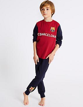 Pure Cotton FC Barcelona™ Pyjamas (3-16 Years), PURPLE MIX, catlanding