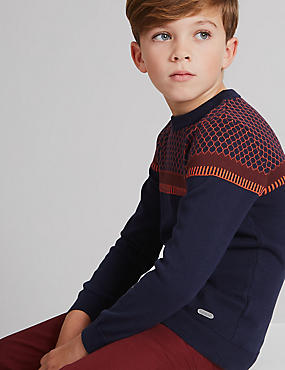 Pure Cotton Jacquard Jumper (3-14 Years), NAVY MIX, catlanding