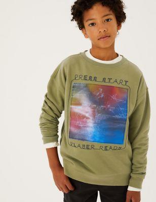 Cotton Press Start Slogan Sweatshirt (6-16 Yrs)