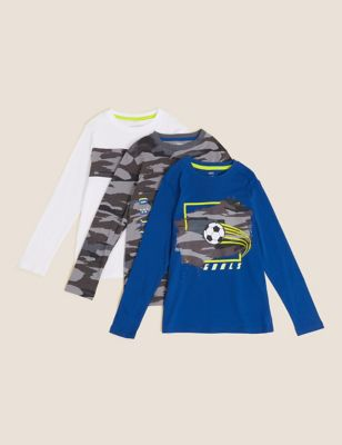 3pk Pure Cotton Camouflage Football Tops (6-16 Yrs)