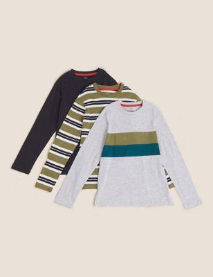 3pk Cotton Striped Tops (6-16 Yrs)