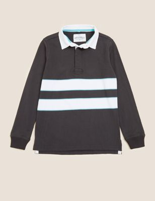 Pure Cotton Striped Rugby Top (6-16 Yrs)