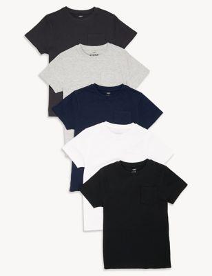 5pk Cotton Plain T-Shirts (6-16 Yrs)