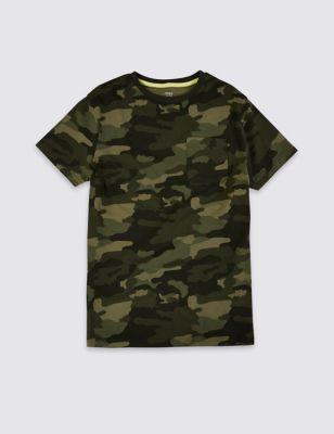 Pure Cotton Camo Print T-Shirt (6-16 Yrs)