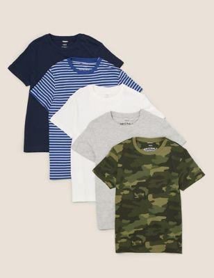 5pk Adaptive Pure Cotton T-shirts (2-14 Yrs)