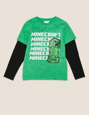 Pure Cotton Minecraft™ Sequin Top (6-14 Yrs)