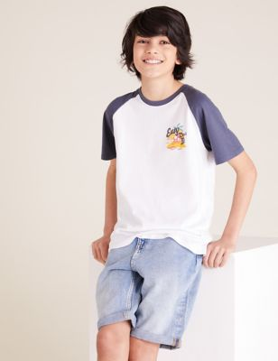 3pk Cotton Contrast T-Shirts (6-16 Yrs)