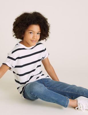 5pk Pure Cotton Striped & Plain T-Shirts (6-16 Yrs)