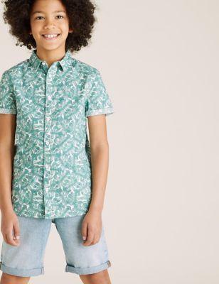 Pure Cotton Leaf Print Shirt (6-16 Yrs)