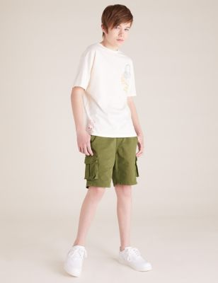 Cotton Buckle Cargo Shorts (6-16 Yrs)