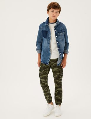 Pure Cotton Camouflage Cargo Joggers (6-16 Yrs)