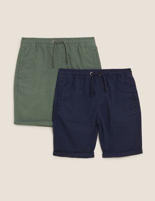 2pk Pure Cotton Ripstop Shorts (6-14 Yrs)