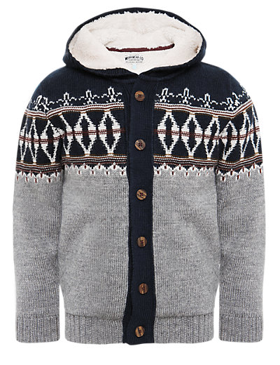 Hooded Fair Isle Fleece Lined Cardigan with Wool | M&S