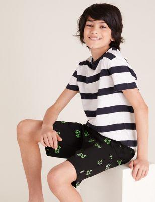 Cotton Gamer Print Shorts (6-16 Yrs)