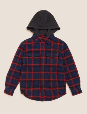 Cotton Checked Hooded Shacket (6-16 Yrs)