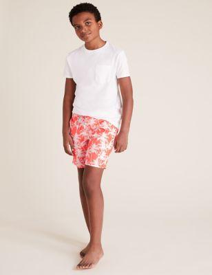 Palm Tree Print Swim Shorts (6-14 Yrs)
