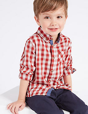 Paddington™ Pure Cotton Gingham Shirt (3 Months - 6 Years), RED, catlanding