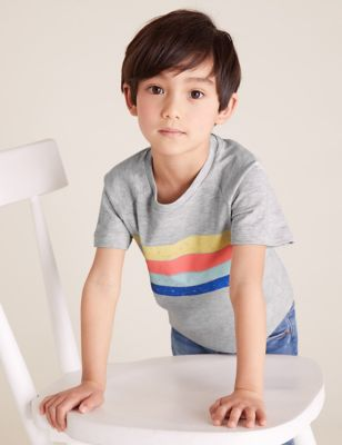 3pk Cotton Colour Block T-Shirts (2-7 Yrs)