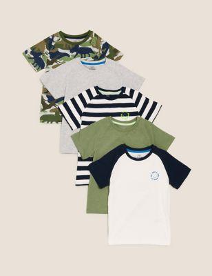 5pk Cotton Patterned T-Shirts (2-7 Yrs)