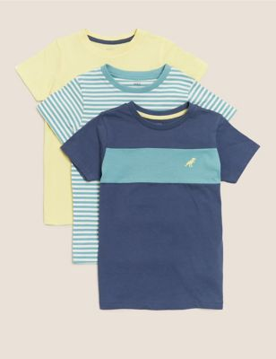 3pk Pure Cotton Patterned T-Shirts (2-7 Yrs)