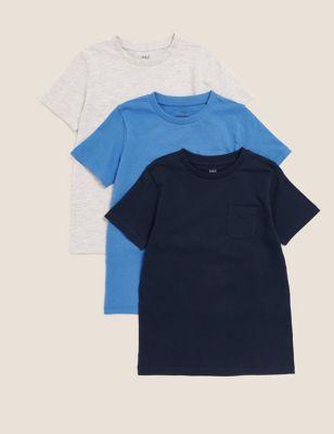 3pk Pure Cotton Plain T-Shirts (2-7 Yrs)