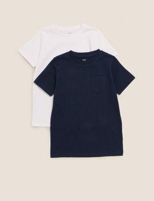 2pk Pure Cotton Plain T-Shirts (2-7 Yrs)