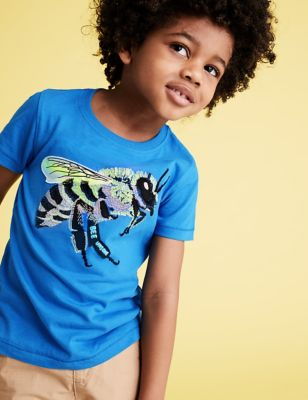 Pure Cotton Embroidered Bee T-Shirt (2-7 Yrs)