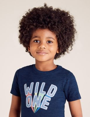 Pure Cotton Wild One Slogan T-Shirt (2-7 Yrs)