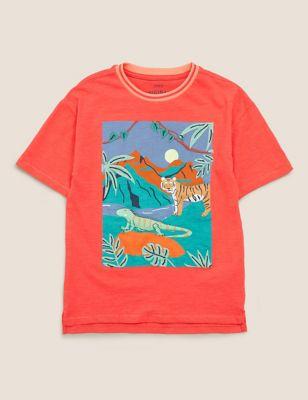 Pure Cotton Jungle Scene T-Shirt (2-7 Yrs)