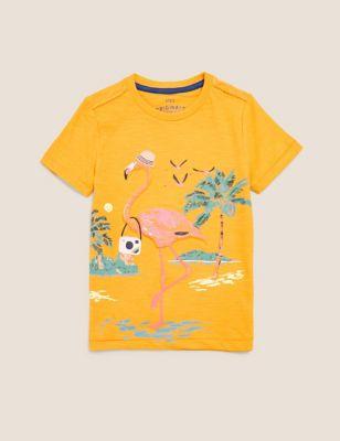 Pure Cotton Flamingo Print 3D T-Shirt (2-7 Yrs)