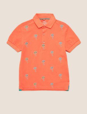 Pure Cotton Palm Tree Embroidery Polo Shirt (2-7 Yrs)