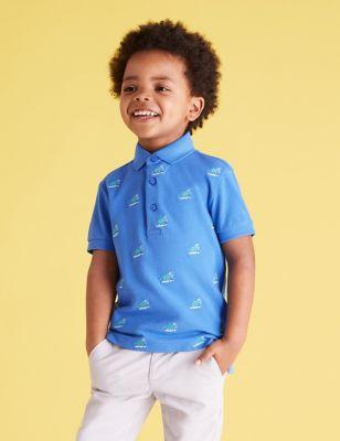 Pure Cotton Dinosaur Embroidered Polo Shirt (2-7 Yrs)