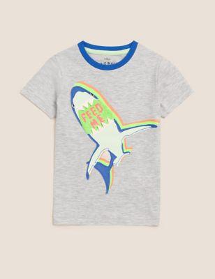 Cotton Reversible Sequin Shark T-Shirt (2-7 Yrs)