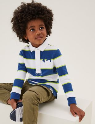 Pure Cotton Striped Rugby Shirt (2-7 Yrs)