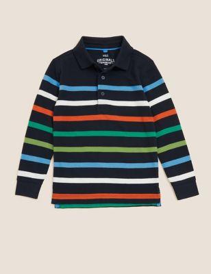 Pure Cotton Striped Polo Shirt (2-7 Yrs)
