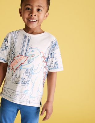 Cotton Embroidered Dinosaur T-Shirt (2-7 Yrs)