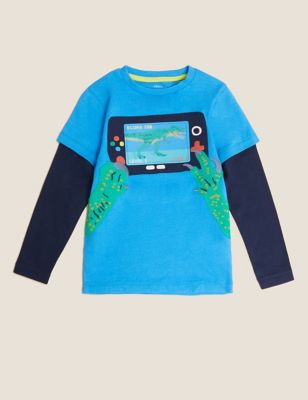 Pure Cotton Gamer Dinosaur Interactive Top (2-7 Yrs)