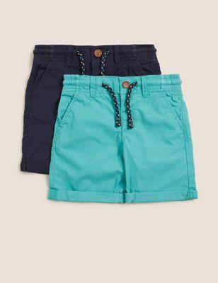 2pk Pure Cotton Ripstop Shorts (2-7 Yrs)