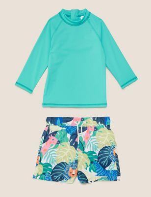 2pc Printed Swim Shorts Set (2-7 Yrs)