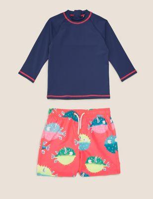 2pc Puffer Fish Swim Short Set (2-7 Yrs)