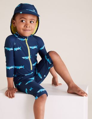2pc Shark All Over Print All In One (2-7 Yrs)