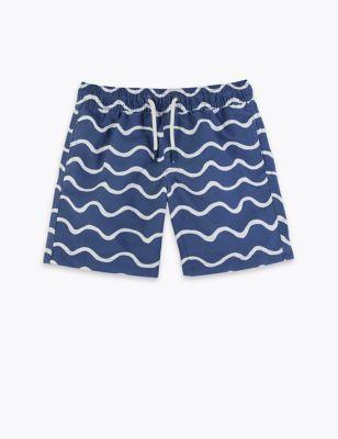 Wave Print Swim Shorts (2-7 Yrs)