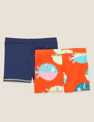 2pk Puffer Fish and Solid Swim Trunks (2-7 Yrs)