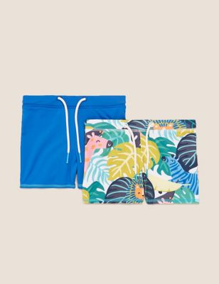 2pk Palm Print and Solid Swim Trunks (2-7 Yrs)