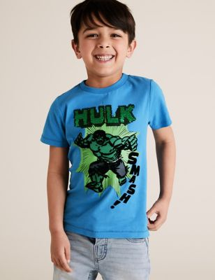 Pure Cotton Hulk™ Reversible Sequin T-Shirt (2-7 Yrs)