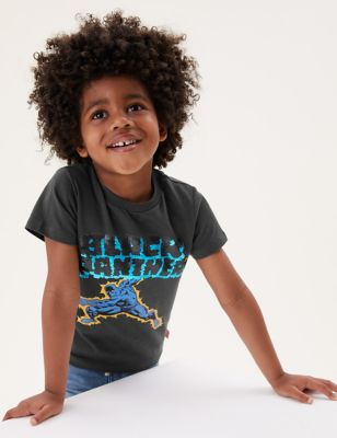 Black Panther™ Pure Cotton Sequin T-Shirt (2-7 Yrs)
