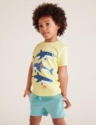 Pure Cotton Shark Print T-Shirt (2-7 Yrs)