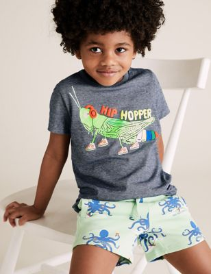 Organic Cotton Grasshopper Striped T-Shirt (2-7 Yrs)