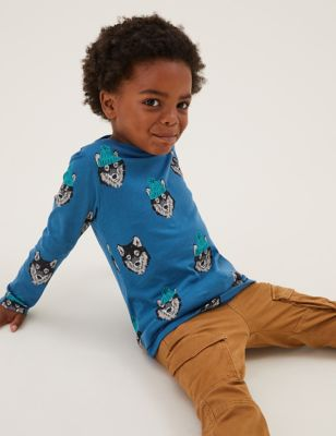 Pure Cotton Wolf Print Top (2-7 Yrs)